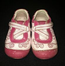 Girls pink floral leather Stride Rite 'Farrow' shoes size 5.5 W wide VGUC!