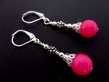 A PAIR OF FUSCHIA BRIGHT PINK JADE DANGLY LEVERBACK HOOK EARRINGS. NEW.