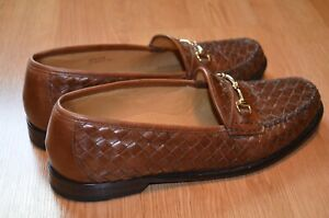 COLE HAAN HORSEBIT GOLD TONE SLIP-ON LOAFERS  BROWN WOVEN LEATHER Sz:10.5M