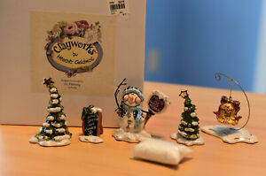 Blue Sky Clayworks Snowman Sign Trees Figures by Heather Goldminc