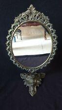 Ancien beau Miroir PSYCHE Ovale Pivotant Sur Pied En Bronze style rocaille 47cm