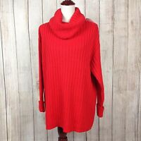 H & M Divided Small Cable Knit Turtle Neck Women's Long Sleeve Sweater Red