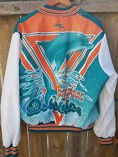 Vintage 80s Chalk Line Miami Dolphins Satin Varsity Jacket NFL Splatter Marino