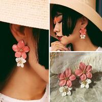 Fashion Women Geometric Flower Crystal Ear Drop Dangle Stud Earring Jewelry Gift