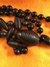Vintage Art Deco Jewellery Jet Black Bead Mod Atomic Necklace Antique Jewelry