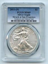 2011 (S) $1 American Silver Eagle Dollar 1oz PCGS MS69