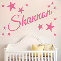 PERSONALISED NAME With stars wall sticker DECAL kids bedroom any text  NA6