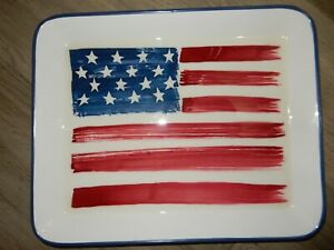Pottery Barn American Flag Serving Tray Porcelain 14 X 17 Beautiful