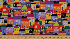 Cotton Rio Colorful Homes Buildings Cotton Fabric By The Yard D568.53