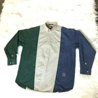 Vintage Tommy Hilfiger Men's Size Medium Button Up Shirt Blue Beige Green