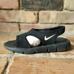 Nike Sunray Adjustable Sandals Youth Children's 386518-011 Black White Size 2Y