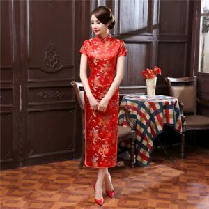 Chinese Traditional Cheongsam Women Silk Satin Dress Oriental Qipao S -6XL sz