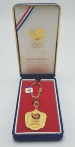 Seoul 1988 Summer Olympics Keychain Velvet Case Sung Bang Co 24K Gold Plated