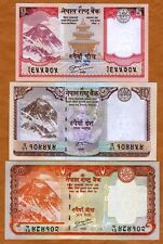SET Nepal, 5;10;20 Rupees (2009-2010), P-60-61-62 UNC > Everest, Animals
