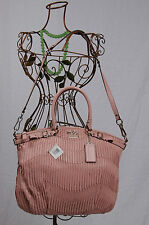 NWT COACH Madison Gathered Leather Lindsey Satchel #18643 Tuberose Pink