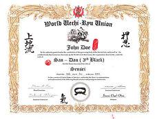 Uechi Ryu Karate Custom 11 X 14 certificate