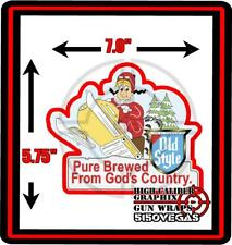 """70's OLD STYLE  Vintage Decal Sticker Beer Guy Snowmobile  5.75"""" X 7.0"""" BIG"""