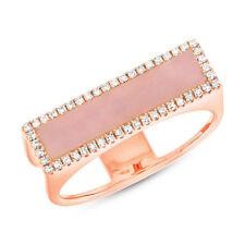 Neues AngebotDamen 0.95 TCW 14K Rose Gold Pink Opal Diamant Cocktail Stangen Statement Ring