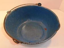 Graniteware Blue Soup Pot Kettle Pail Enamel Ware Speckle