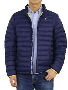 Polo Ralph Lauren Boy's Down Puffer Jacket - Navy w/yellow pony -