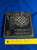 Puzzle Peg Antique-VTG Game Lubbers & Bell MFG Co 1927 Black Owl Graphics