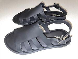 Melissa Black Sandals Size 38 / 8 - Strappy Sandals Gold Coloured Buckle