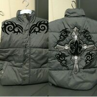 Mens Puffy Padded Grey Winter Jacket Fleur-de-lis Saints Cross Tribal Jacket XL