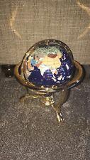 "MOP Gemstone World MAP GLOBE 13"" Bahama Blue Ocean Gold 3- Leg Table Stand"