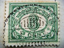 1926 Nederlandsch -Indie Colony 3 cents surcharge green stamp