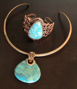 Barse Turquoise Necklace And Bracelet Set