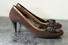 Luxurious Court Shoes Heels 70 mm Leather and Suede Brown Jonak P.39 Mint