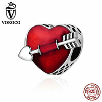 VOROCO S925 Sterling Silver Arrow And Heart Charms Meaning Falling In Love Charm