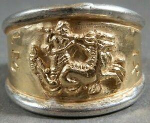 Ancient Roman Military Legionary Gold Silver Ring Legion XI Claudia Neptune