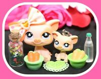 ❤️Authentic Littlest Pet Shop LPS #885 MOMMY & BABY Pig Piglet Dangler Set❤️