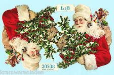 2 uralte geprägte Weihnachtsmänner Oblaten L&B 30708 - DIE CUT SCRAPS