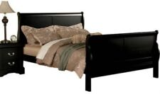 california cal king size sleigh bed frame black wood headboard footboard bedroom