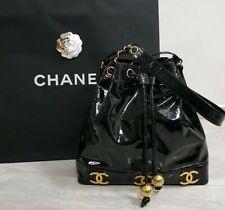 Groß CHANEL Lack Leder CC Tasche Shopping Beuteltasche Chain Bag Purse Vintage
