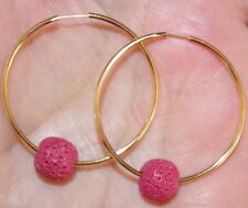 UNDYED RED SEA CORAL BALL 30MM 14K GOLD FILLED HOOP EARRINGS