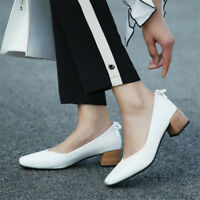Elegant Womens Block Mid Heels Square Toe Pumps Slip On Casual Plus Size Shoes