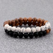 Couple Charm Multilayer Wooden Stone Beaded Energy Yoga Reiki Distance Bracelets