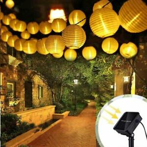 30-60 Led Solar Power Chinese Lantern String Fairy Lights Garden Outdoor Party