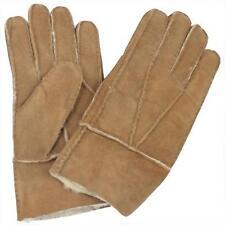 Men's Winter Genuine Brown Sheepskin Leather Shearling Fur Warm Gloves