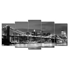 Painting Picture Canvas Print City Night Bridge Black White Home Dec Art Framed