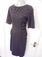HOBBS LONDON Ladies Size 12 Black Grey Stretch Ruched Wiggle Dress Back Zip