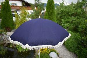 alte kleiner Sonnen Schirm 50/60er Jahre blau/weiß mit Tasche Stoff/Metall