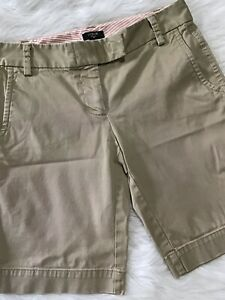 J. Crew Women's Stretch City Fit Khaki Shorts Size 0 Smooth Front Cotton Blend