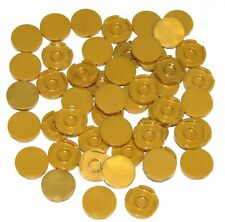 Lego Lot of 50 New Pearl Gold Tiles Round 2 x 2 with Bottom Stud Holder Pieces
