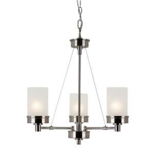 Bel Air Lighting 3-Light Brushed Nickel Chandelier with Frosted Glass Shade