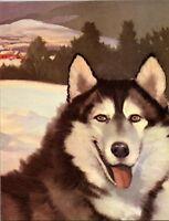 Husky Sled Dog Alaska Snow Scene Wesley Dennis Book plate print