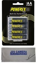 Powerex Pro Rechargeable AA NiMH Batteries [2700mAh, 1.2V] (4-pack) & Cloth